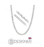 "Designer-Inspired-4mm-Sterling-Silver-Curb-Chain-Necklace-Sterling-925-Plated-Mens-Boys-Womens-Unisex-Argos-Long-Short-16""-18""-20""-22""-24""-26""-28""-30"""
