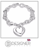 Double Heart Tag Charm Bracelet Sterling Silver 925