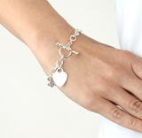 Heart Pendant Toggle T Bar Bracelet Silver