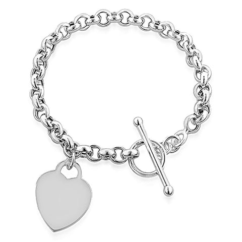 Designer Inspired Heart Pendant Toggle T Bar Bracelet Sterling Silver 925 Plated 20cm - Designer Inspired Co -  - 1