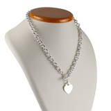 Toggle Heart Necklace and Bracelet Set Silver 925