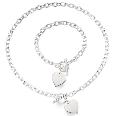 Heart Pendant Toggle T Bar Rolo Tag Necklace and Bracelet Set Sterling Silver 925 with Box