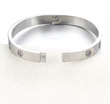 Swarovski Crystal Love Screw Bracelet Bangle Womens Girls Cartier Style Designer Inspired Womens Girls Silver