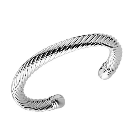 Designer Inspired Twisted Spiral Cuff Bangle Bracelet Solid Sterling Silver 925 Plated - Designer Inspired Co -