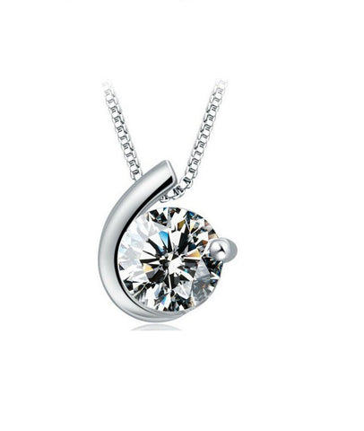 Designer Inspired Simulated Diamond Love Pendant Necklace Sterling Silver 925 - Style 1 - Designer Inspired Co -
