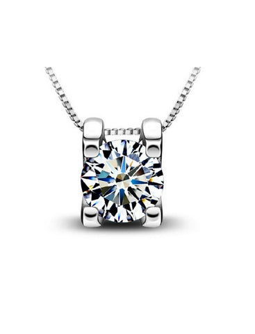 Designer Inspired Simulated Diamond Love Pendant Necklace Sterling Silver 925 - Style 5 - Designer Inspired Co -  - 1