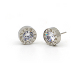 Roman Numeral Steel Stud Earrings with Swarovski Crystals