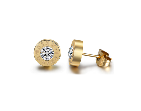 Roman Numeral Steel Stud Earrings with Swarovski Crystal Elements