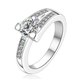 Cushion Eternity Band Diamond Ring Silver 925 #23