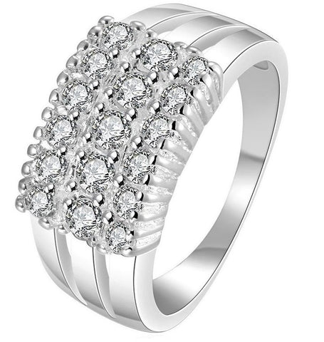Cluster Eternity Rows Diamond Ring Silver 925 #2