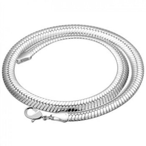 Designer Inspired Wide Silver Flat Snake Spine 6MM Bracelet 925 - Designer Inspired Co -  - 1