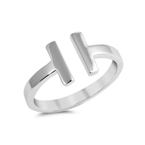 T Ring H Titanium Steel Designer Inspired Tiffany Co Hermes Style Womens Girls Gift Luxury Brand Fashion Replica Copy dupe Silver