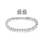 White Gold Tennis Bracelet and Earrings Set