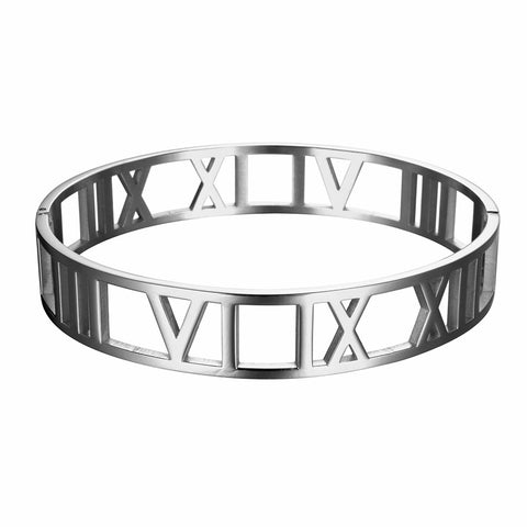 Titanium-Steel-Hollow-Roman-Numerals-Wide-Cuff-Bracelet-Unisex-Designer-Inspired-Tiffany-and-co-Atlas-Birthday-Mens-Womens-Silver