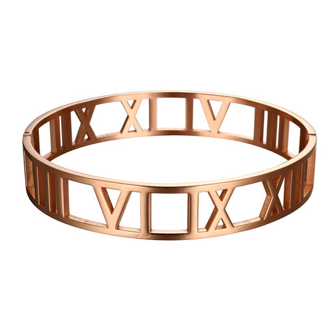 Titanium-Steel-Hollow-Roman-Numerals-Wide-Cuff-Bracelet-Unisex-Designer-Inspired-Tiffany-and-co-Atlas-Birthday-Mens-Womens-Rose-Gold