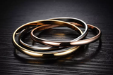 Triple Interlinked Titanium Steel Love Bracelet in Silver Rose Gold and Yellow Gold
