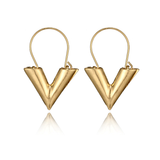 V LV Hollow Dangle Hoop Love Earrings LV Louis Vuitto Essential Jewellery Style Designer Inspired Womens Girls Gold Valentino