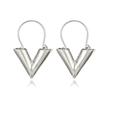 V LV Hollow Dangle Hoop Love Earrings LV Louis Vuitto Essential Jewellery Style Designer Inspired Womens Girls Silver