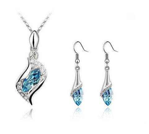 Swarovski Elements Drop Necklace and Earrings Set 18k White Gold Plated Austrian Crystals