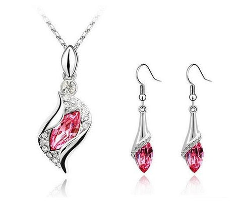 Swarovski Drop Necklace and Earrings Set 18k White Gold
