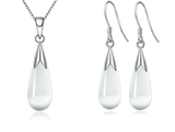 Opal Drop Necklace and Earrings Set 18k White Gold
