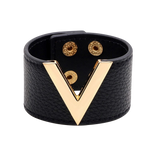 Wide Cuff Leather Wrap Bracelet Mens Womens Unisex V Shape Valentino LV Louis Vuitton Style Hermes Designer Inspired Black