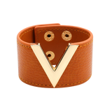Wide Cuff Leather Wrap Bracelet Mens Womens Unisex V Shape Valentino LV Louis Vuitton Style Hermes Designer Inspired Orange Brown Caramel