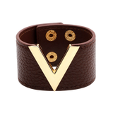Wide Cuff Leather Wrap Bracelet Mens Womens Unisex V Shape Valentino LV Louis Vuitton Style Hermes Designer Inspired Dark Brown Chocolate