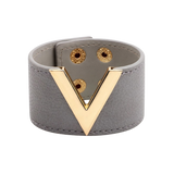 Wide Cuff Leather Wrap Bracelet Mens Womens Unisex V Shape Valentino LV Louis Vuitton Style Hermes Designer Inspired Light Grey