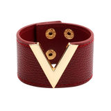 Wide Cuff Leather Wrap Bracelet Mens Womens Unisex V Shape Valentino LV Louis Vuitton Style Hermes Designer Inspired Marood Red Wine