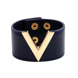 Wide Cuff Leather Wrap Bracelet Mens Womens Unisex V Shape Valentino LV Louis Vuitton Style Hermes Designer Inspired Navy blue