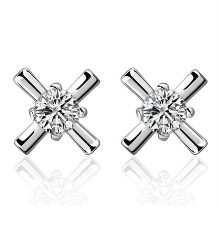 Designer Inspired Simulated Diamond Cross Earrings Silver 925 20mm Diameter - Designer Inspired Co -