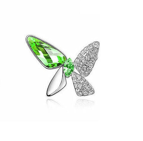Designer Inspired Butterfly Swarovski Brooch Rhodium Plated - Designer Inspired Co - Green - 2