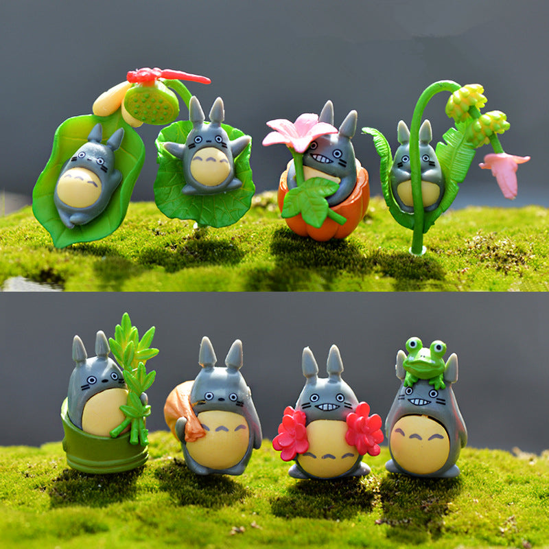 Set of 8 'Spring Time Fun' Totoro Figures