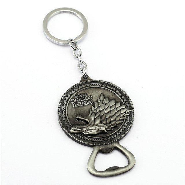 winter is coming bottle opener keychain walrus wears. Black Bedroom Furniture Sets. Home Design Ideas