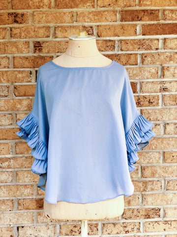 Periwinkle Ruffle Top