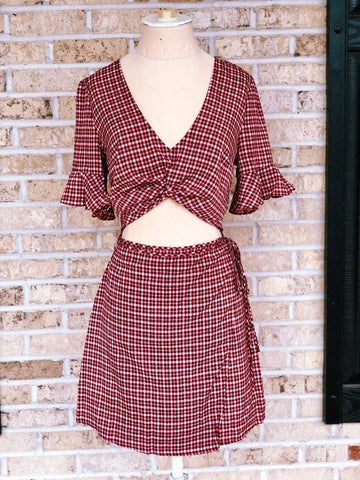 Plaid Mid-Drift Dress