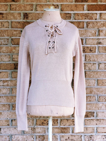Taupe Tie Sweater