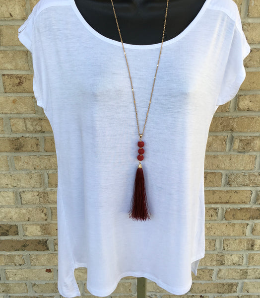 Red Tri-Bead Tassel Necklace