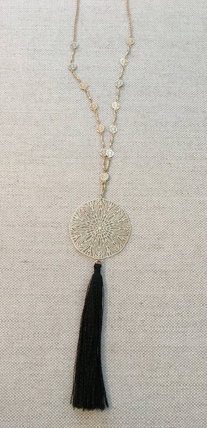 Gold Disc Tassel Necklace