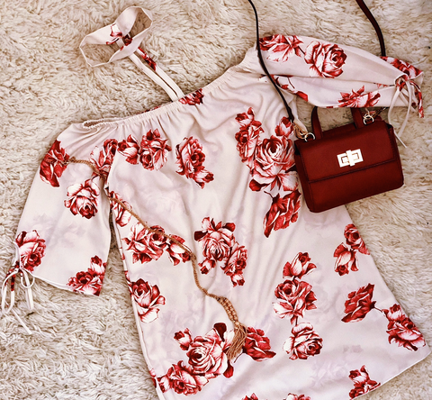 Delicate Rose Off Shoulder Dress