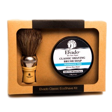 Elvado Classic Shave Kit with Fragrance Free Soap & Shave Brush