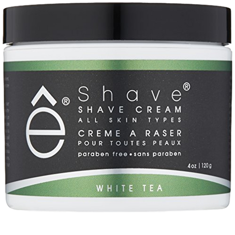 eShave Shaving Creams are FREE of Sulfate and Paraben.  They contain NO SLS, NO SLES, No animal ingredients and NO synthetic colors.   They are made with glycerin and coconut oil to leave your skin smooth and moisturized after shaving. White Tea is a calming scent with universal appeal.  Fresh and slightly fruity to balance and rejuvenate the skin, it will please the most discerning gentleman. It will last 4 to 6 months when used with a Badger Hair Shaving Brush making it more economical than the foam in a can.  The more hot water you use the richer the lather particularly when lathered with a shaving brush.  Our White Tea Shave Cream will give you the closest shave ever, pain free, no kidding!