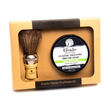 Elvado Classic Shave Kit with Wild Mint Lime Soap and Shave Brush