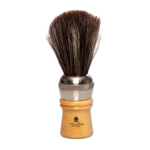 Vie-Long Cachurro Professional Horse Hair Shaving Brush, Metal/Wood Handle