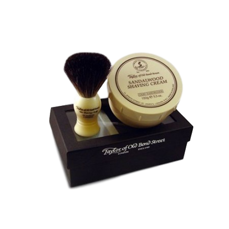 Taylor of Old Bond Street Gift Set Pure Badger Shaving Brush & Sandalwood Shave Cream 150g