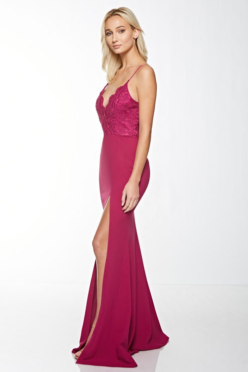 Main Attraction Lace Gown (Rose) - FINAL SALE