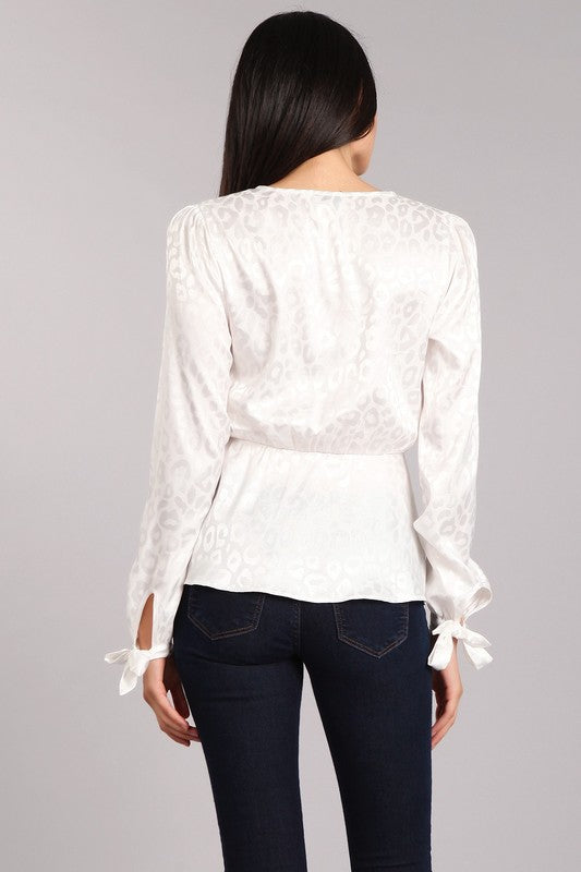 Satin Leopard Blouse (White) - FINAL SALE