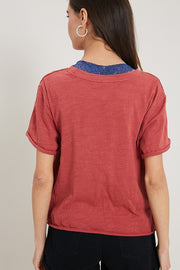 Washed Knit Tee (Brick)