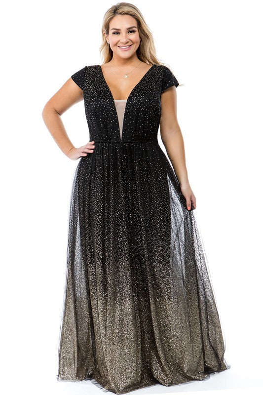 La Fleur Glimmer Gown (Black) PLUS SIZE - FINAL SALE